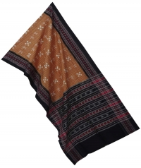 Copper brown black sambalpuri  handloom cotton stole