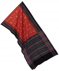 Orange black sambalpuri handloom cotton stole