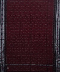 Maroon and black sambalpuri handloom cotton saree