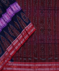 Navy blue and maroon sambalpuri handloom cotton saree
