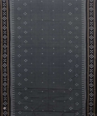 Gray and black sambalpuri handloom cotton saree