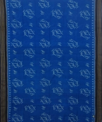 Yale blue and black sambalpuri  handloom cotton saree