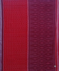 Maroon and red sambalpuri handloom cotton saree