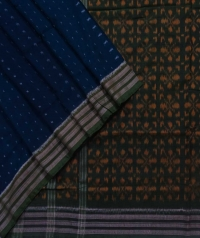 Navy blue and green sambalpuri handloom cotton saree