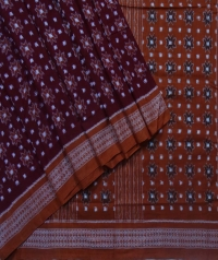 Maroon and brown sambalpuri handloom cotton saree