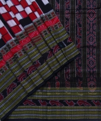 Red and black sambalpuri handloom cotton saree