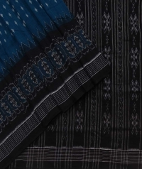 Purssian blue and black sambalpuri handloom cotton saree