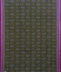 Seaweed and maroon sambalpuri handloom cotton saree