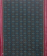 Green and maroon sambalpuri handloom cotton saree