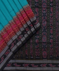 Turquoise blue and black sambalpuri handloom cotton saree