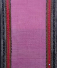 Bubblegum pink and black sambalpuri handloom cotton saree