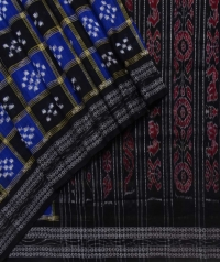 Blue and black sambalpuri handloom cotton saree