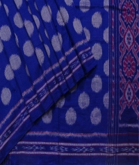 Sapphire blue and gray sambalpuri handloom cotton saree