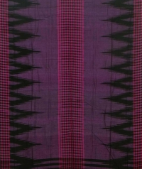 Violet and black sambalpuri handloom cotton saree