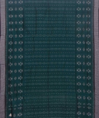 Green and black sambalpuri handloom cotton saree