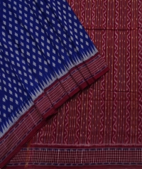 Blue and maroon sambalpuri handloom cotton saree