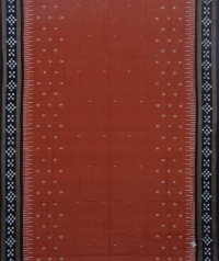 Brown and black sambalpuri handloom cotton saree