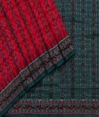 Red and green sambalpuri handloom cotton saree