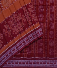 Brown and maroon sambalpuri handloom cotton saree