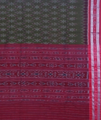 Olive and maroon sambalpuri handloom cotton saree