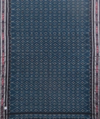 Blue and black sambalpuri handloom cotton saree