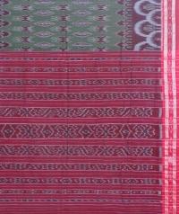 Gray and maroon sambalpuri handloom cotton saree
