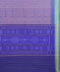 Brown and violet sambalpuri handloom cotton saree
