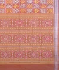 Brown sambalpuri handloom cotton saree