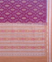 Maroon and brown sambalpuri handloom cotton saree