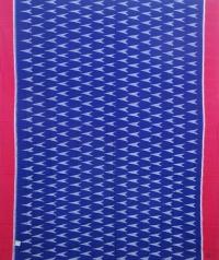 Blue and red sambalpuri handloom cotton saree