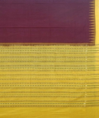 Maroon and yellow sambalpuri handloom cotton saree