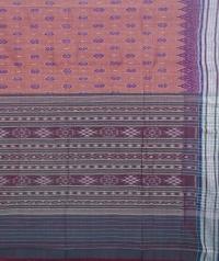 Brown and green sambalpuri handloom cotton saree