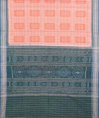 Orange and green sambalpuri handloom cotton saree