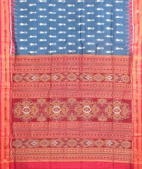 Yale blue and red  khandua silk sare