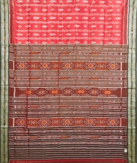 Ruby pink and black khandua silk saree