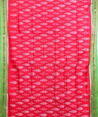 Cerise pink and green khandua silk saree