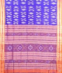 Blue and orange khandua silk saree