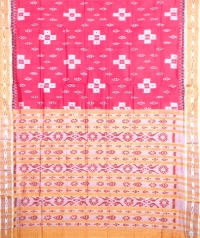 Red and cream khandua silk saree