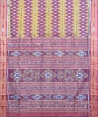Maroon and red khandua silk saree