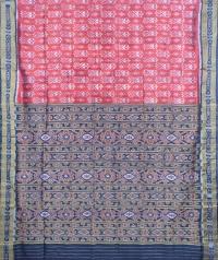 Ruby red and black khandua silk saree