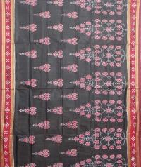Black and red khandua  silk saree