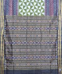 Olive green and black  khandua silk saree
