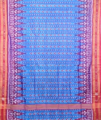 Azure and red khandua  silk saree