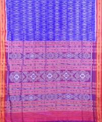 Azure blue and red khandua silk saree