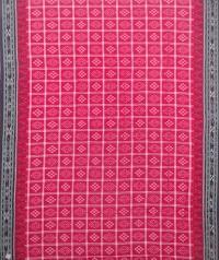 Red and black sambalpuri handloom cotton saree
