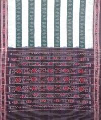 Green and white sambalpuri handloom cotton saree