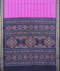 Lavender and black sambalpuri handloom cotton saree