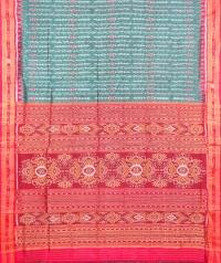 Green and red khandua  silk saree