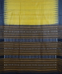 Yellow & black colour handwoven tussar silk saree