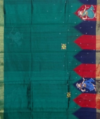 Green & black  colourhandwoven tussar silk saree